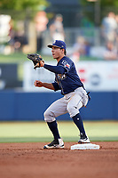 San Antonio Missions second baseman Luis Urias (3) waits for a throw during a game against the Tulsa Drillers on June 1, 2017 at ONEOK Field in Tulsa, Oklahoma.  Tulsa defeated San Antonio 5-4 in eleven innings.  (Mike Janes/Four Seam Images)