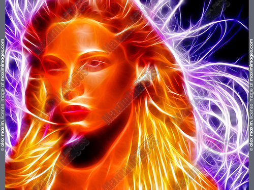 Abstract fantasy face of a beautiful young woman with flying hair made of fire and energy fibers.