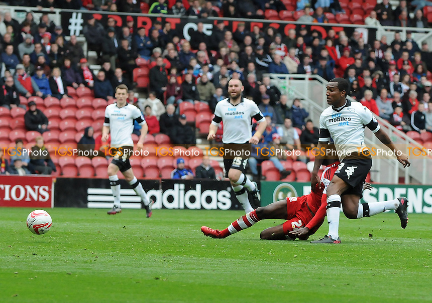 Albert Adomah of Middlesbrough volleys towards goal - Middlesbrough vs Derby County - Sky Bet Championship Football at the Riverside Stadium, Middlesbrough - 05/04/14 - MANDATORY CREDIT: Steven White/TGSPHOTO - Self billing applies where appropriate - 0845 094 6026 - contact@tgsphoto.co.uk - NO UNPAID USE