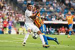 Real Madrid's Carlos Henrique Casemiro and Valencia's Jose Luis Gaya during La Liga match between Real Madrid and Valencia CF at Santiago Bernabeu Stadium in Madrid, Spain August 27, 2017. (ALTERPHOTOS/Borja B.Hojas)