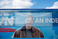 Senator Scott Brown's (R-MA) campaign bus waits outside the Bella Costa Restaurant in Framingham, Massachusetts, USA, on Thurs., Nov. 2, 2012. Senator Scott Brown is seeking re-election to the Senate.  His opponent is Elizabeth Warren, a democrat.