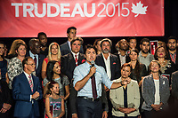 The Leader of the Liberal Party of Canada, Justin Trudeau, attend a community social in Saint-Leonard., Friday, August 28, 2015 at<br /> Leonardo da Vinci Centre <br /> 8370 Lacordaire Boulevard<br /> Saint-Léonard, Quebec<br /> <br /> Photo : Philippe Manh Nguyen - Agence Quebec Presse<br /> <br /> <br /> <br /> <br /> Photo : AQP - Philippe Manh Nguyen