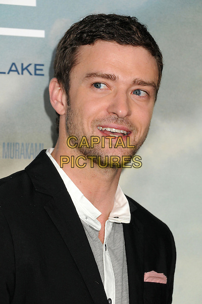 "Justin Timberlake.""Trouble With The Curve"" Los Angeles Premiere held at the Regency Village Theatre, Westwood, California, USA..September 19th, 2012.headshot portrait black grey gray white stubble facial hair mouth open.CAP/ADM/BP.©Byron Purvis/AdMedia/Capital Pictures."