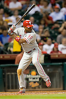 Philadelphia Phillies outfielder Ben Francisco #10 at bat during the Major League Baseball game against the Houston Astros at Minute Maid Park in Houston, Texas on September 13, 2011. Houston defeated Philadelphia 5-2.  (Andrew Woolley/Four Seam Images)