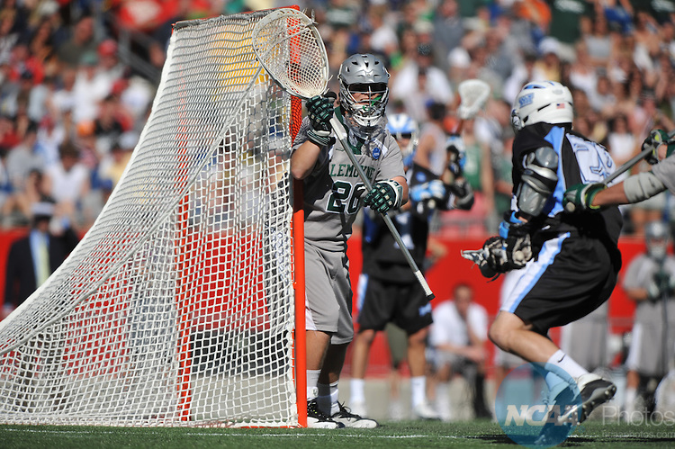 25 MAY 2008: Doug McIver (20) of Le Moyne College looks for a shot by NYIT College during the Division II Men's Lacrosse Championship held at Gillette Stadium in Foxborough, MA.  NYIT defeated Le Moyne 16-11 for the national title. Larry French/NCAA Photos