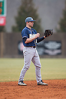 Akron Zips shortstop Dom Iero (15) on defense against the Charlotte 49ers at Hayes Stadium on February 22, 2015 in Charlotte, North Carolina.  The Zips defeated the 49ers 5-4.  (Brian Westerholt/Four Seam Images)