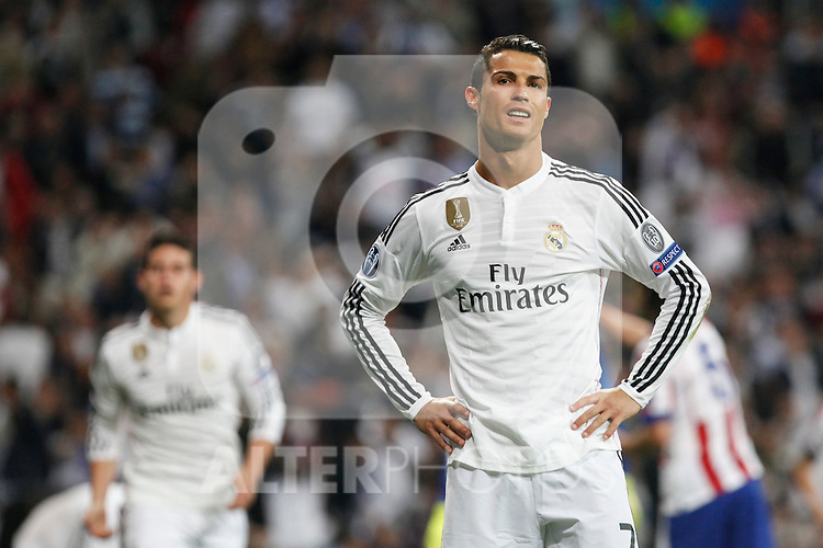 Real Madrid's Cristiano Ronaldo reacts during quarterfinal second leg Champions League soccer match at Santiago Bernabeu stadium in Madrid, Spain. April 22, 2015. (ALTERPHOTOS/Victor Blanco)