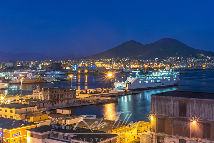 Europe, Italy, Naples, Naples Port & Mt. Vesuvias at Twilight