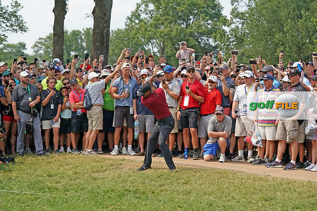 Tiger Woods (USA) hits out of the rough on the 8th hole during the final round of the 100th PGA Championship at Bellerive Country Club, St. Louis, Missouri, USA. 8/12/2018.<br /> Picture: Golffile.ie | Brian Spurlock<br /> <br /> All photo usage must carry mandatory copyright credit (© Golffile | Brian Spurlock)