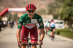 Nathan Haas (AUS) Team Katusha-Alpecin sporting the Green Jersey arrives at sign on before the start of Stage 4 of the 2018 Tour of Oman running 117.5km from Yiti (Al Sifah) to Ministry of Tourism. 16th February 2018.<br /> Picture: ASO/Muscat Municipality/Kare Dehlie Thorstad   Cyclefile<br /> <br /> <br /> All photos usage must carry mandatory copyright credit (&copy; Cyclefile   ASO/Muscat Municipality/Kare Dehlie Thorstad)