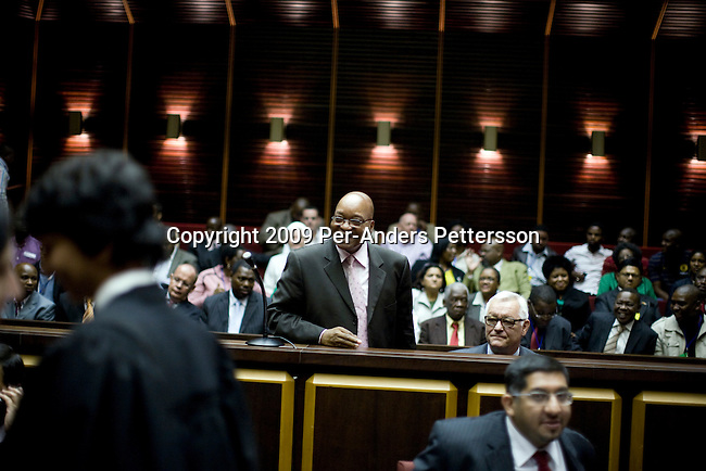 PIETERMARITZBURG, SOUTH AFRICA FEBRUARY 4: ANC president Jacob Zuma (c) appears in a courtroom on February 4, 2009 in Pietermaritzburg, South Africa. Mr. Zuma was recently cleared of several fraud and corruption charges and he is expected to win the general election on April 22, and become South Africa's third democratic elected president. (Photo by Per-Anders Pettersson)...