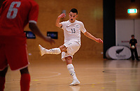 Benjamin Lapslie scores during international men's futsal match between the NZ Futsal Whites and New Caledonia at Baypark Arena in Mount Maunganui, New Zealand on Thursday, 14 September 2017. Photo: Dave Lintott / lintottphoto.co.nz