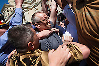 Moscow, Russia, 28/05/2011..Uniformed and plain-clothes police seize America gay rights activist Andy Thayer at an attempted gay pride parade in central Moscow. Several dozen people were arrested during clashes as Russian nationalists attacked gay rights activists during their sixth attempt to hold a gay pride parade in the Russian capital.