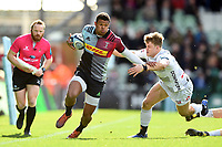 Nathan Earle of Harlequins fends Ollie Thorley of Gloucester Rugby. Gallagher Premiership match, between Harlequins and Gloucester Rugby on March 10, 2019 at the Twickenham Stoop in London, England. Photo by: Patrick Khachfe / JMP