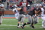 Noah Osur-Myers, Washington State offensive lineman, takes care of his man while run blocking during the Cougars Pac-12 Conference demolition of the Arizona Wildcats, 69-7, on November 5, 2016, at Martin Stadium in Pullman, Washington.