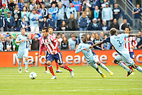 Jose Manuel Rivera (6) forward Chivas USA goes past Peterson Joseph (19) midfield Sporting KC ..Sporting Kansas City defeated Chivas USA 4-0 at Sporting Park, Kansas City, Kansas.