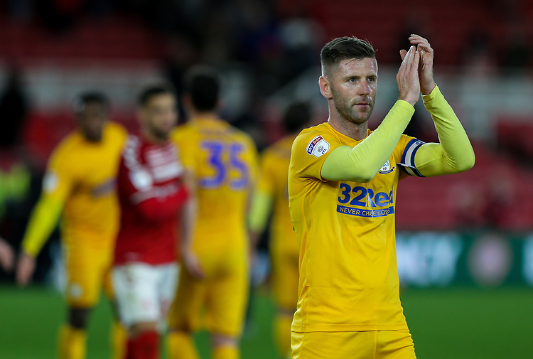 Preston North End's Paul Gallagher applauds the fans after the match<br /> <br /> Photographer Alex Dodd/CameraSport<br /> <br /> The EFL Sky Bet Championship - Middlesbrough v Preston North End - Tuesday 1st October 2019  - Riverside Stadium - Middlesbrough<br /> <br /> World Copyright © 2019 CameraSport. All rights reserved. 43 Linden Ave. Countesthorpe. Leicester. England. LE8 5PG - Tel: +44 (0) 116 277 4147 - admin@camerasport.com - www.camerasport.com