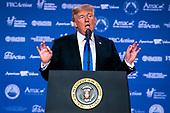 United States President Donald J. Trump speaks at the 2017 Value Voter Summit, on Thursday, October 13, 2017 at the Omni Shoreham Hotel in Washington, D.C. <br /> Credit: Al Drago / Pool via CNP