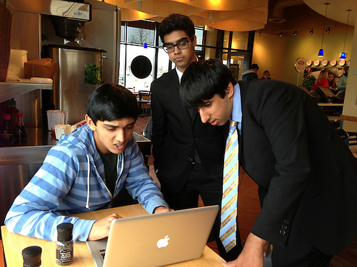 The Harker School - US - Upper School - US debaters are coached by Harker Alum Akshay Jagadeesh '12 at the Apple Valley MN Debate Tournament - Photo by Carol Green