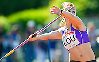 23 MAY 2010 - LOUGHBOROUGH, GBR - Rosie Sementysh (Loughborough University) prepares to throw in the Womens Javelin at the Loughborough International Athletics .(PHOTO (C) NIGEL FARROW)