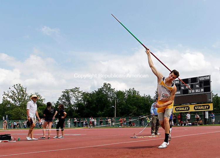 New Britain, CT- 03 June 2013-060313CM06- Thomaston's Alex Gagne launches the javelin at the State Open Track and Field meet at Willow Brook Park in New Britain Monday afternoon.    Christopher Massa Republican-American