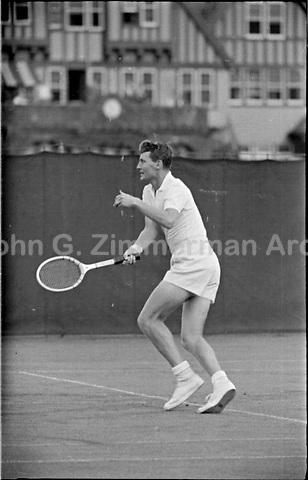 Ham Richardson plays in 1956 U.S. National Championships. West Side Tennis Club, Forest Hills, NY. Photograph by John G. Zimmerman.