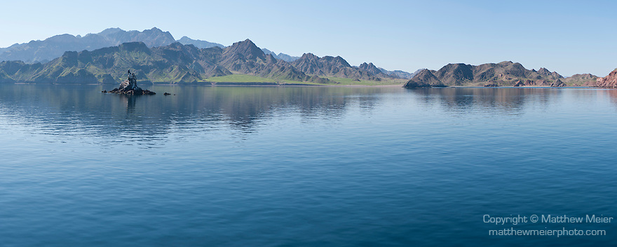 Sea of Cortez, Baja California, Mexico; a panoramic view of Refugio Bay at the northern end of Angel Island in early morning sunlight