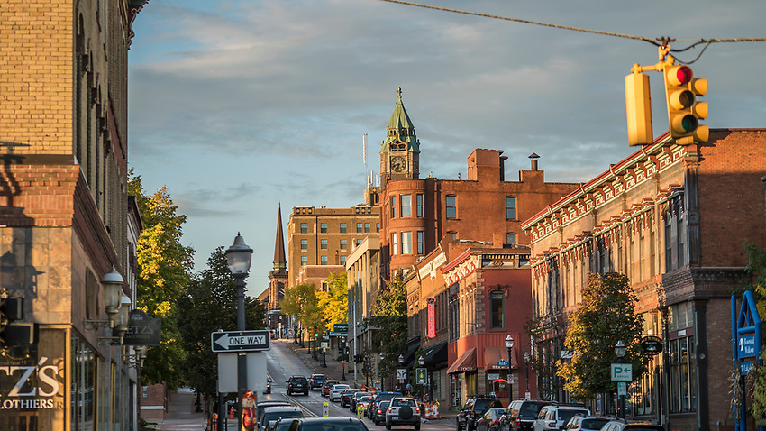 Downtown Marquette, Michigan in October, during the Fresh Coast Film Festival.