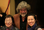 02/05/2014 Trento, Italia. 62nd Trento Film Festival.<br /> Italy's Alpinist Reinhold Messner (C) is seen with Japanese mountain-climber Junko Tabei who, on May 16, 1975, became the first woman to reach the summit of Mount Everest and South Korean female mountaineer Oh Eun Sun.