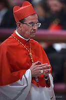 Cardinal Gregorio Rosa Chavez from Salvador;Pope Francis leads a consistory for the creation of five new cardinals  at St Peter's basilica in Vatican.  from countries  : El Salvador, Laos, Mali,Sweden and Spain.<br /> Cardinal Gregorio Rosa Chavez from Salvador;Cardinal Louis-Marie Ling Mangkhanekhoun from Laos;Cardinal Anders Arborelius from Sweden;Cardinal Jean Zerbo from Mali;Cardinal Juan Jos&eacute; Omella of Spainon June 28, 2017