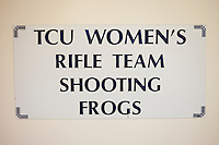 The Texas Christian University Women's Rifle Team, coached by Karen Monez (cq) faces the Air Force Academy in a qualifying shooting match at the TCU campus in Ft. Worth, Texas, Saturday, February 12, 2011. The TCU team is undefeated this season and won the national championship last year to become the first all women's team to win the championship...Girls shooting in the match include: Catherine Green (lane 6), Sarah Beard (lane 8), Mattie Brogdon (lane 9), Caitlin Morrissey (lane 10), and Sarah Scherer (lane 11)..Boys shooting include: Mike Seery (lane 5), Pat Everson (lane 7), Tom Chander (lane 1), Matt Kluckman (lane 2), Ben York (lane 3), Kyle Phillips (lane 4)..CREDIT: Matt Nager for The Wall Street Journal