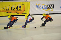 SHORTTRACK: AMSTERDAM: 05-01-2014, Jaap Edenbaan, NK Shorttrack, 1000m, Sjinkie Knegt (#89), Mark Prinsen (#64), Christiaan Bökkerink (#91), ©foto Martin de Jong