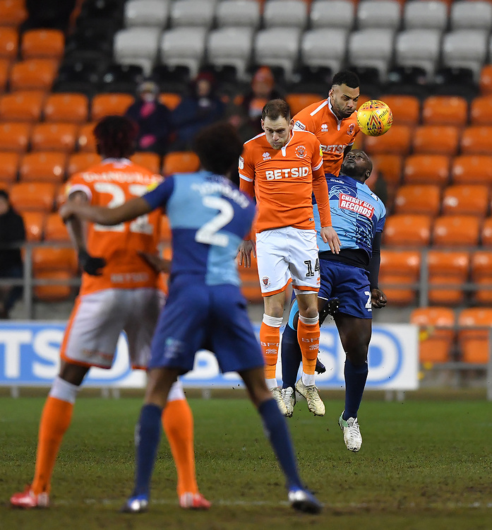 Blackpool's Curtis Tilt jumps highest<br /> <br /> Photographer Dave Howarth/CameraSport<br /> <br /> The EFL Sky Bet League One - Blackpool v Wycombe Wanderers - Tuesday 29th January 2019 - Bloomfield Road - Blackpool<br /> <br /> World Copyright © 2019 CameraSport. All rights reserved. 43 Linden Ave. Countesthorpe. Leicester. England. LE8 5PG - Tel: +44 (0) 116 277 4147 - admin@camerasport.com - www.camerasport.com