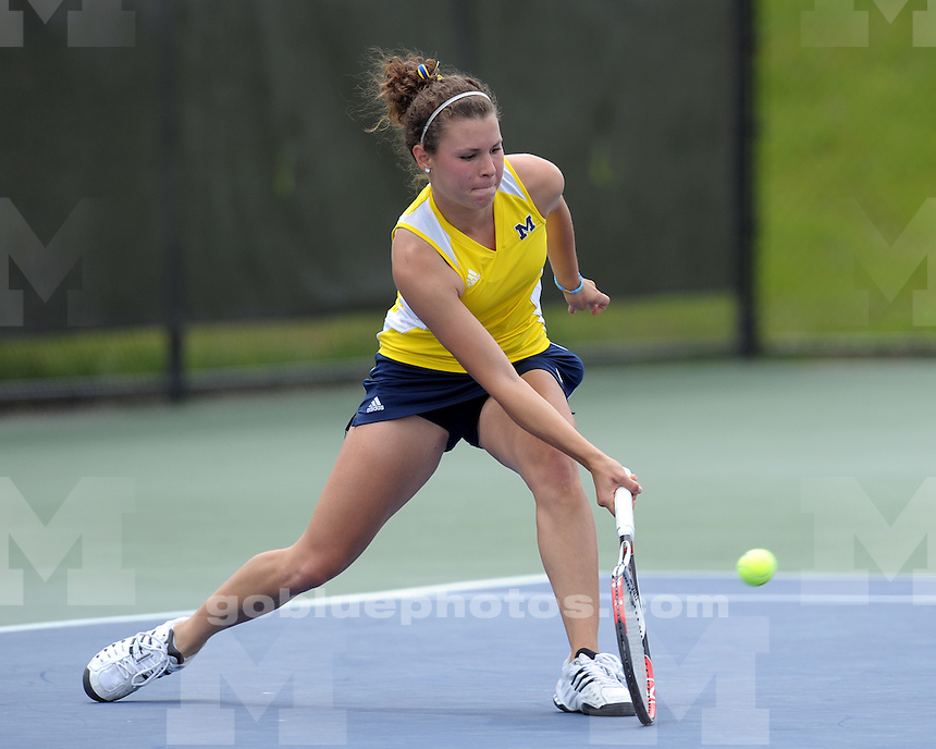 No. 4-ranked University of Michigan women's tennis team defeats Ohio State 4-0 in the second round of the NCAA Championships at the Varsity Tennis Center on May 15, 2010.