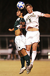 8 December 2007: Wake Forest's Pat Phelan (5) and Notre Dame's Kurt Martin (left) challenge for a header. Wake Forest University defeated Notre Dame University 1-0 in overtime at Spry Stadium in Winston-Salem, NC in an NCAA Men's Soccer tournament quarterfinal.