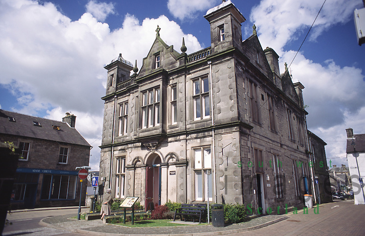 Langholm library and Town Hall originally endowed by Thomas Telford in Langholm town centre Dumfriesshire Scotland UK