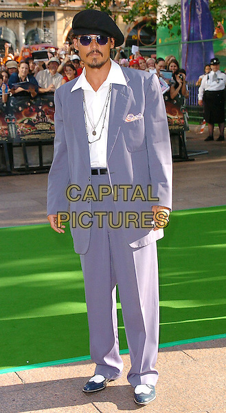 "JOHNNY DEPP.At the UK Film Premiere of ""Charlie And The Chocolate Factory"", Odeon Cinema Leicester Square, .London, July 17th 2005..full length hat sunglasses tinted blue lenses grey suit shirt open collar shoes beard goatee retro  high waist.Ref: CAN.www.capitalpictures.com.sales@capitalpictures.com.©Can Nguyen/Capital Pictures"