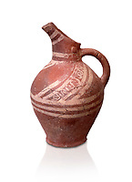 Early Minoan decorated clay jugs ,  Michlos Cemetery 2600-1900 BC BC, Heraklion Archaeological  Museum, white background.