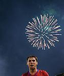 FUDBAL, BEOGRAD, 10.10.2009. -   Radost fudbalera Srbije Baneta Ivanovica nakon plasmana na Svetsko prvenstvo. Fudbalska reprezentacija Srbije u pretposlednjem kolu kvalifikacija za Svetsko prvenstvo 2010. godine u Juznoj Africi pobedila je Rumuniju rezultatom 5:0. Foto: Nenad Negovanovic - Sportska centrala
