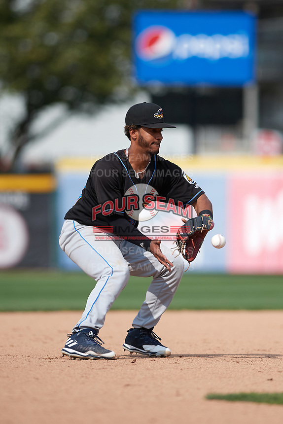 Akron RubberDucks third baseman Ivan Castillo (28) fields a ground ball during a game against the Erie SeaWolves on August 27, 2017 at UPMC Park in Erie, Pennsylvania.  Akron defeated Erie 6-4.  (Mike Janes/Four Seam Images)