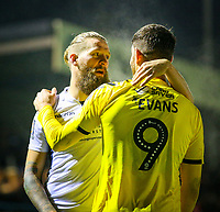 Guiseley's Kingsley James embraces Fleetwood Town's Ched Evans after the game<br /> <br /> Photographer Alex Dodd/CameraSport<br /> <br /> The Emirates FA Cup Second Round - Guiseley v Fleetwood Town - Monday 3rd December 2018 - Nethermoor Park - Guiseley<br />  <br /> World Copyright © 2018 CameraSport. All rights reserved. 43 Linden Ave. Countesthorpe. Leicester. England. LE8 5PG - Tel: +44 (0) 116 277 4147 - admin@camerasport.com - www.camerasport.com