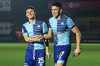Dominic Gape of Wycombe Wanderers and Luke O'Nien of Wycombe Wanderers  celebrate victory after the Sky Bet League 2 match between Wycombe Wanderers and Leyton Orient at Adams Park, High Wycombe, England on 17 December 2016. Photo by David Horn / PRiME Media Images.
