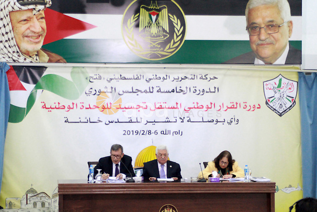 Palestinian President Mahmoud Abbas chairs the revolutionary council meeting of Fatah movement at the Palestinian Presidential Office in the West Bank city of Ramallah, February 6, 2019. Photo by Ahmad Arouri