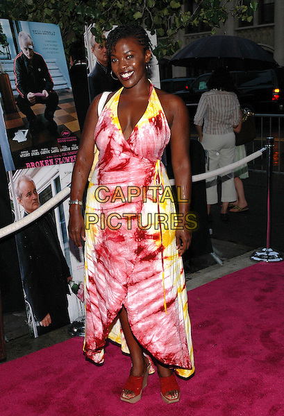"HEATHER SIMMS.The premiere of her new film, ""Broken Flowers"", at the Chelsea West Cinema in Manhattan, New York, New York.  .July 27th, 2005.Photo Credit: Patti Ouderkirk/AdMedia.full length pink red yellow tie dye halterneck wrap around dress.www.capitalpictures.com.sales@capitalpictures.com.© Capital Pictures."