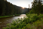 Idaho, North, Kootenai County, Coeur d 'Alene National Forest. The Coeur d'Alene River, in evening light of summer.