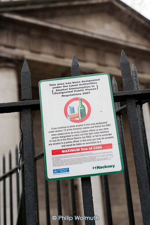 Designated area in which alcohol consumption can be banned by a police officer,  St Leonard's Churchyard, Shoreditch, Hackney, London.