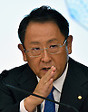 "May 11, 2016, Tokyo, Japan - President Akio Toyoda of Toyota Motor Corp., speaks during a press briefing at its head office in Tokyo on Wednesday, May 11, 2016.""The tide has turned,"" Toyoda told the briefing following the release of the earnings report. The worlds biggest automaker expects its group operating profit to drop 40.4 percent to 1.7 trillion yen , the first fall in five years. Net profit is projected at 1.5 trillion yen, down 35.1 percent, as revenue will likely fall 6.7 percent to 26.5 trillion yen.(Photo by Natsuki Sakai/AFLO) AYF -mis-"