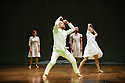 London, UK. 10.04.2013. Fabulous Beast Dance Theatre presents PETRUSHKA at Sadler's Wells. Picture shows: Saku Koistinen, Rachel Poirier (front), Anna Kaszuba and Innpang Ooi (back). Photograph © Jane Hobson.