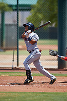 AZL Indians Red Jean Montero (15) at bat during an Arizona League game against the AZL Indians Blue on July 7, 2019 at the Cleveland Indians Spring Training Complex in Goodyear, Arizona. The AZL Indians Blue defeated the AZL Indians Red 5-4. (Zachary Lucy/Four Seam Images)