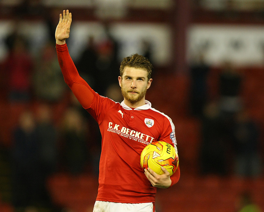 Barnsley's Sam Winnall waves to fans after his side won 6-1.<br /> <br /> Photographer Alex Dodd/CameraSport<br /> <br /> Football - The Football League Sky Bet League One - Barnsley v Rochdale - Saturday 23rd January 2016 - Oakwell Stadium - Barnsley    <br /> <br /> &copy; CameraSport - 43 Linden Ave. Countesthorpe. Leicester. England. LE8 5PG - Tel: +44 (0) 116 277 4147 - admin@camerasport.com - www.camerasport.com